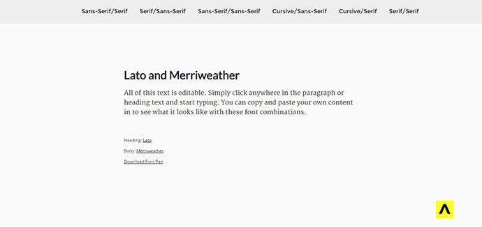 Font Pair helps designers pair Google Fonts together.