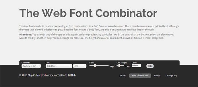 This tool has been built to allow previewing of font combinations in a fast, browser-based manner