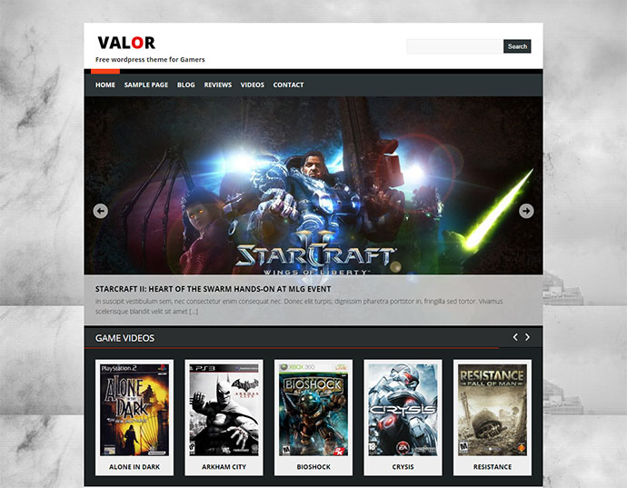 Valor is a free Gamers theme.
