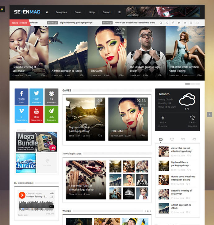 SevenMag is an awesome WordPress theme that created on design flat, modern and elegant.