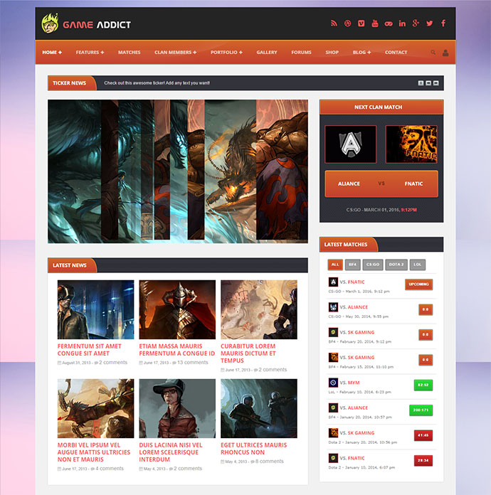 Game Addict is a theme for clans and gaming.
