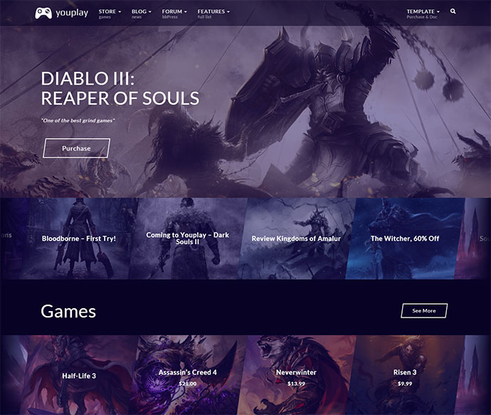 Youplay is creative gaming template for WordPress.