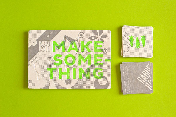 Letterpress promotional postcard and business cards