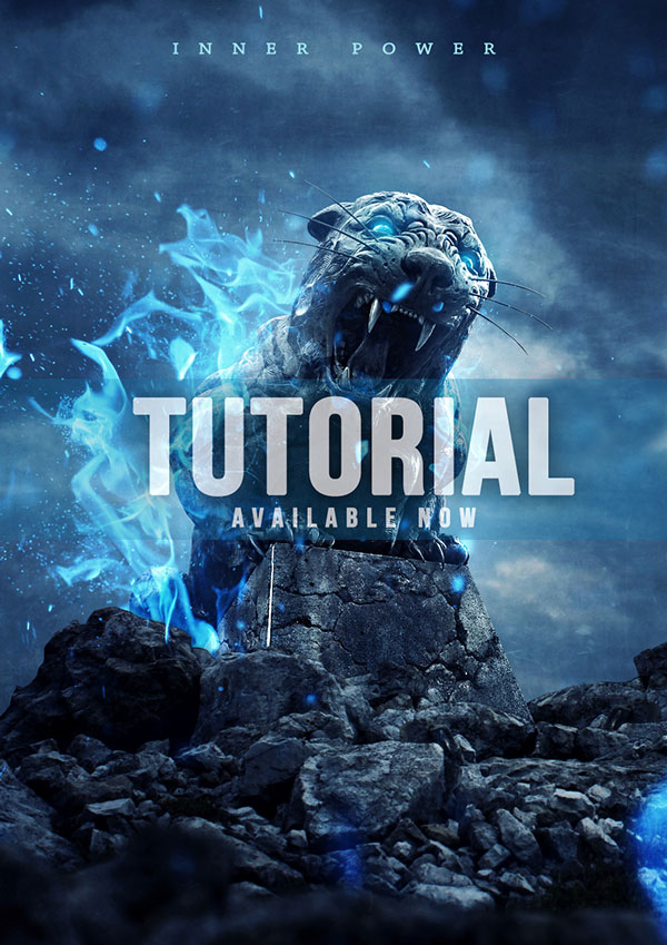 Create an Intense Composite of a Stone Tiger with Blue Flames