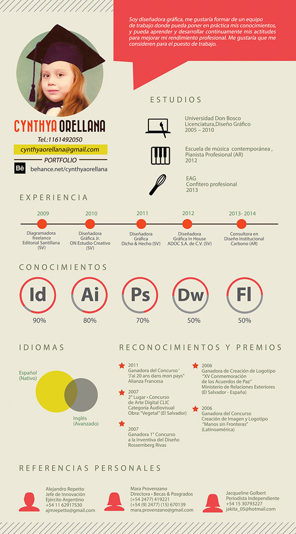 CV Cynthya Orellana (Resume)  Resume Design Inspiration