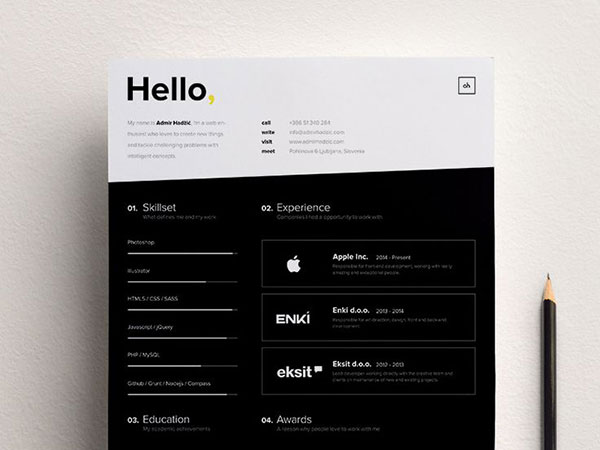 Absolutely love this black and white resume design