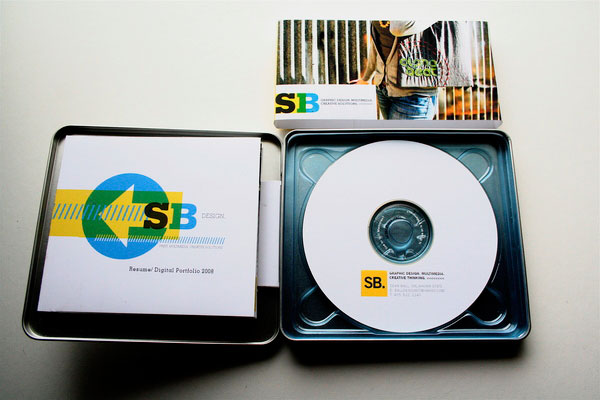 The CDs contain a digital portfolio and the card and resume