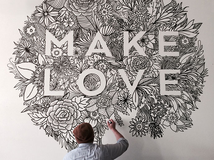 34 inspiring typography wall mural designs web graphic for Cn mural designs