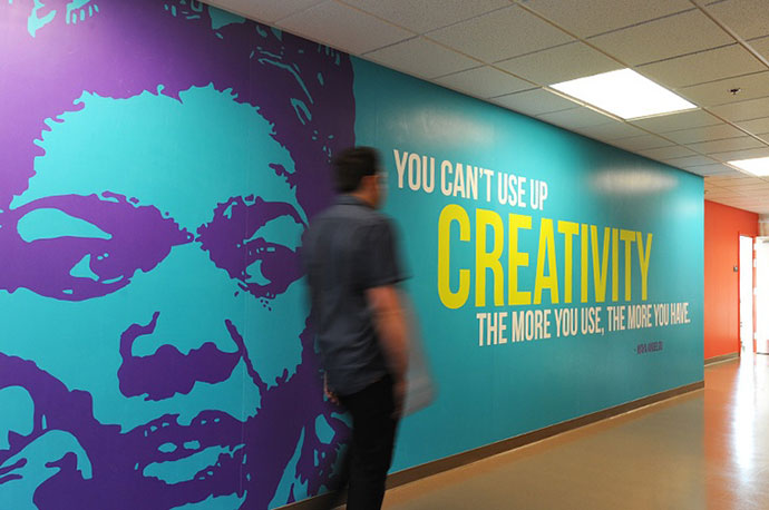34 inspiring typography wall mural designs web graphic for Corporate mural