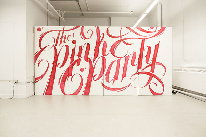 Typographic Mural - The Pink Party