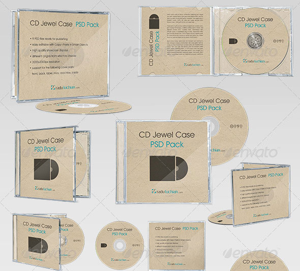 9 CD Jewel Case Mock-ups