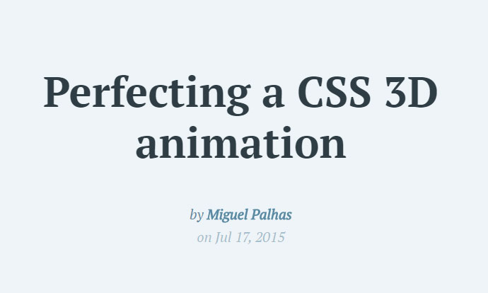 Perfecting a CSS 3D animation