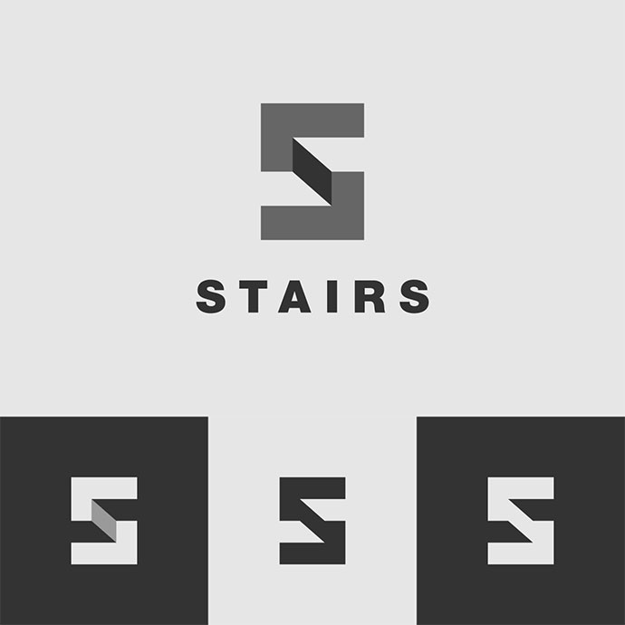 Stairs Logo Design Process Animated