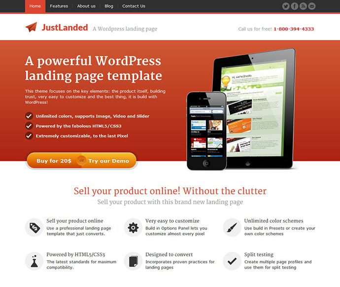 slick WordPress landing page theme