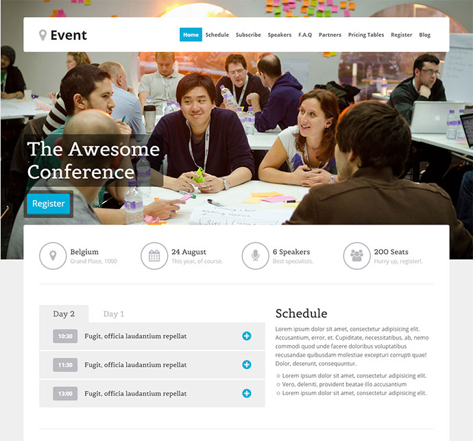 event wordpress landing page theme