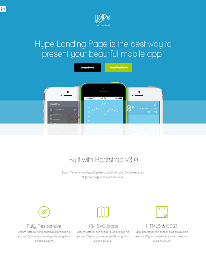 Hype is stunning landing page themes for your apps with no landing page limition