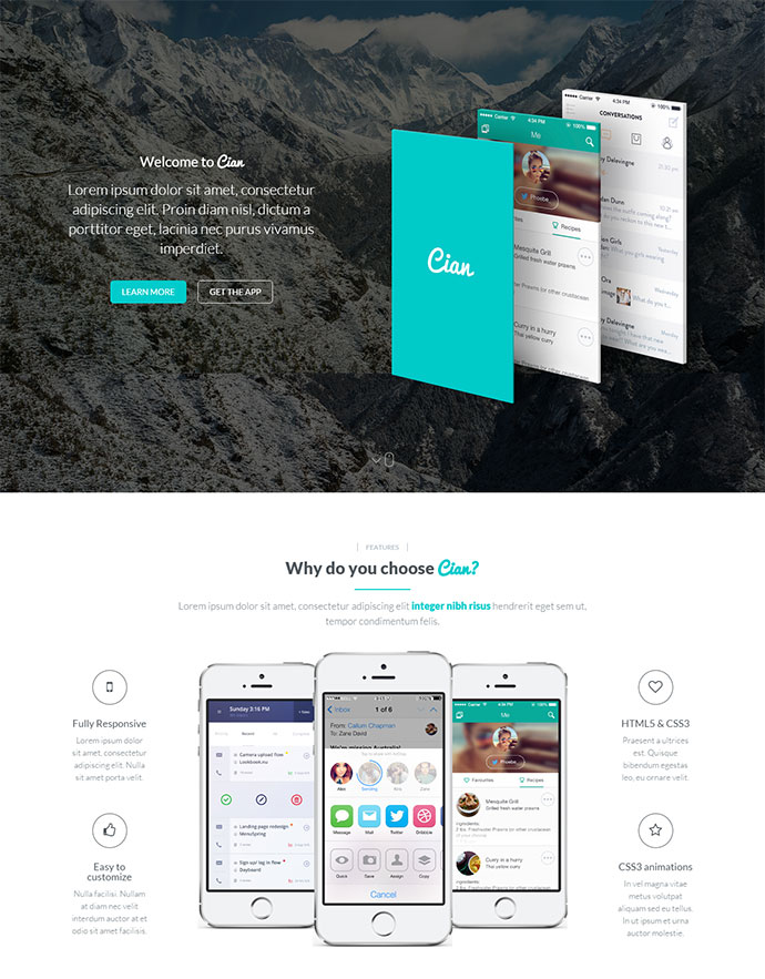 A Mobile App Landing Responsive WordPress Theme