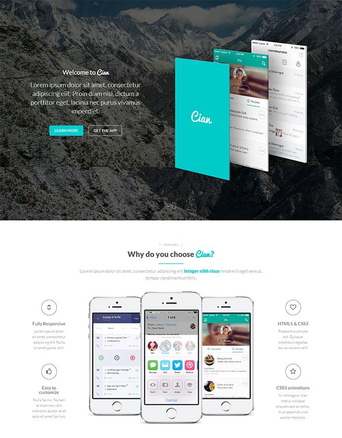 A Mobile App Landing Responsive WordPress Theme