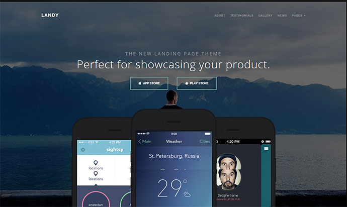 Landy is the perfect way to show off your amazing application for any mobile device.