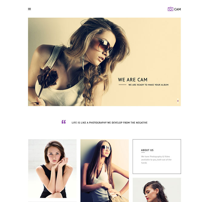 cam minimalist psd website templates