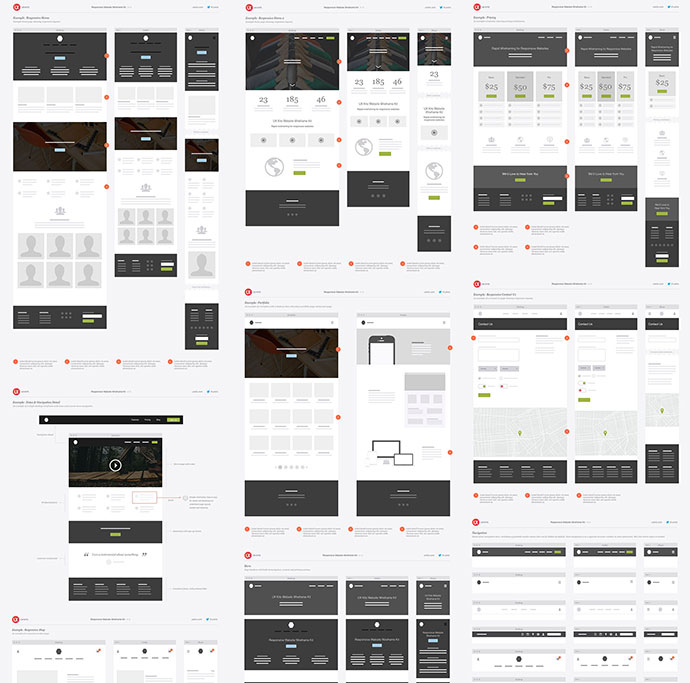 20 templates for creating high fidelity wireframes web for Html5 wireframe template