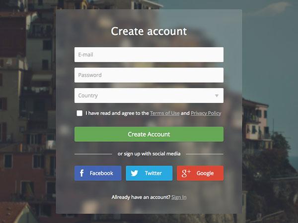 Create Account Transparent Form