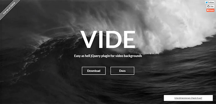 vide jQuery background plugin