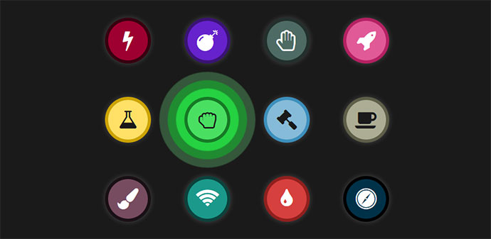 buttons with animated icons