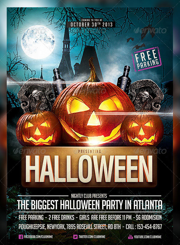 25 hellacious psd halloween flyer templates 2015