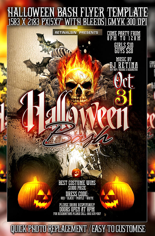 25 Hellacious PSD Halloween Flyer Templates 2015 | Web & Graphic ...