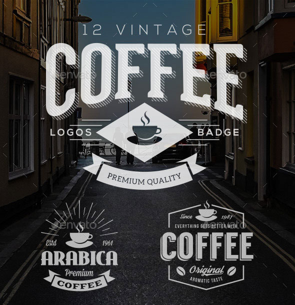 12 Retro Vintage Coffee Logo