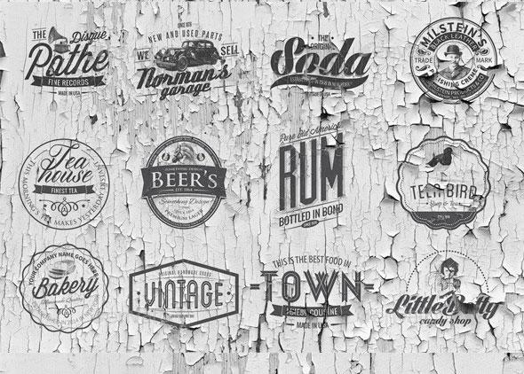 50 Vintage Logos Templates
