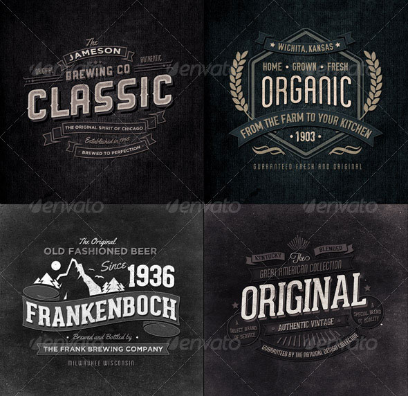18 Retro Typographic Insignia and Badges Bundle