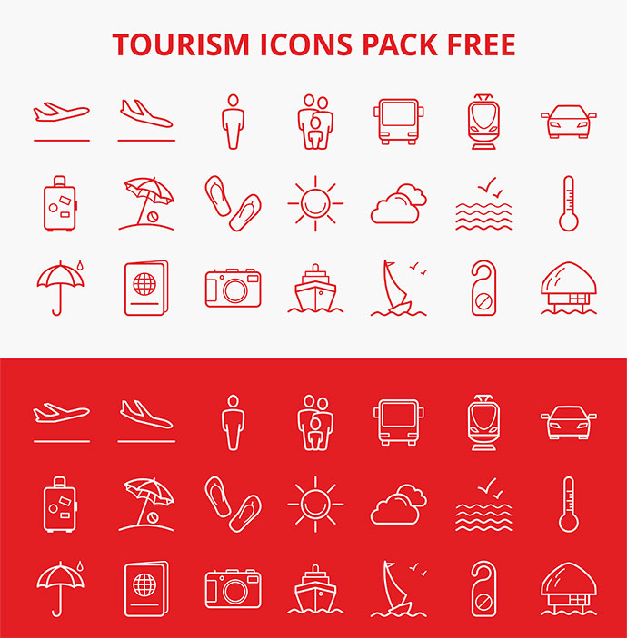 Tourism icon pack (free)
