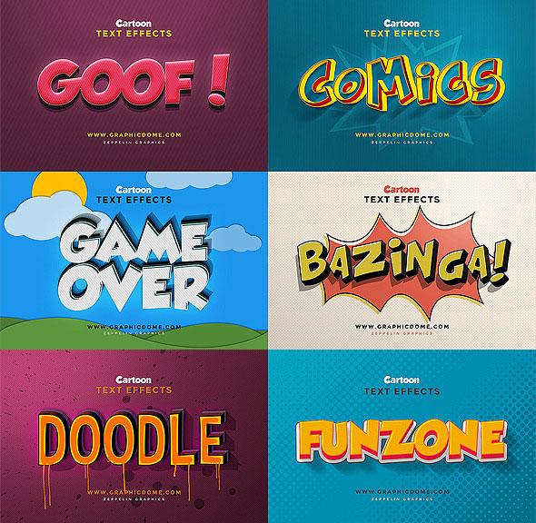 Efectos de texto de dibujos animados