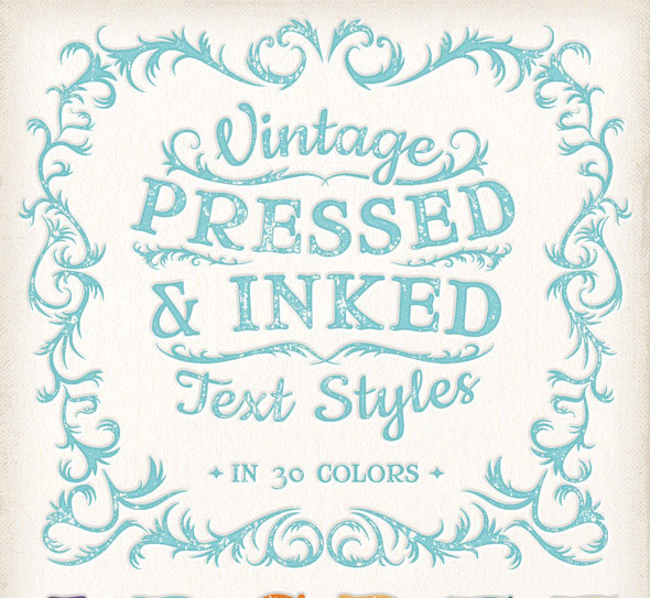 Vintage Pressed & Inked Text Styles
