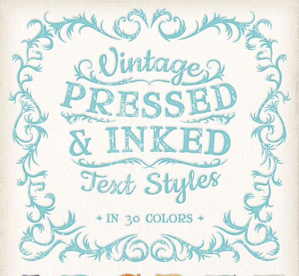 Estilos de texto prensado y coloreado vintage