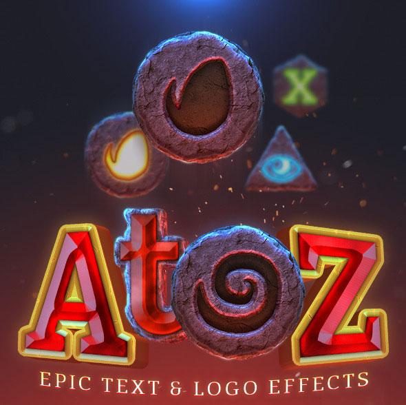 AtoZ: texto épico y efecto de logotipo