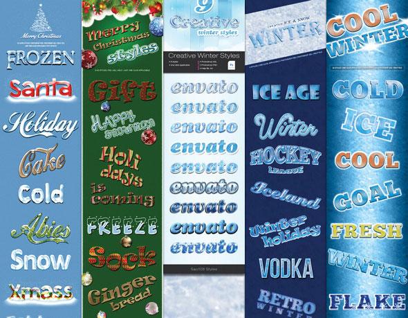 Paquete de efectos de texto de estilo de invierno
