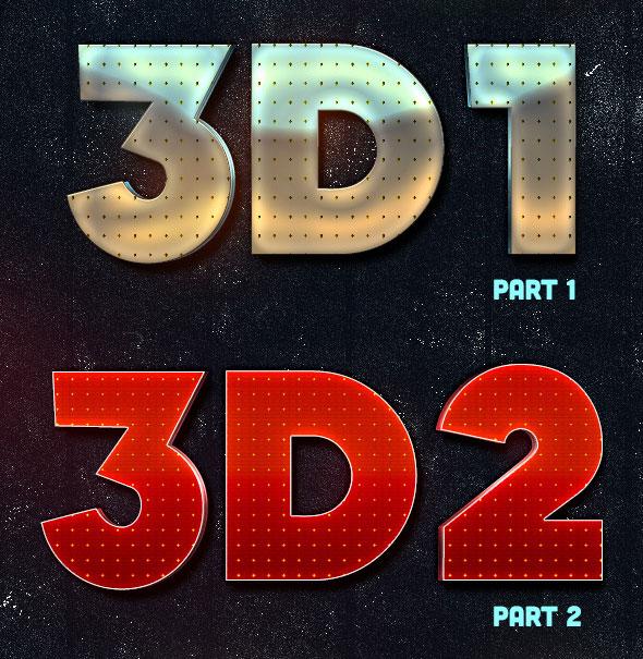 Estilos de texto 3D de Lacose