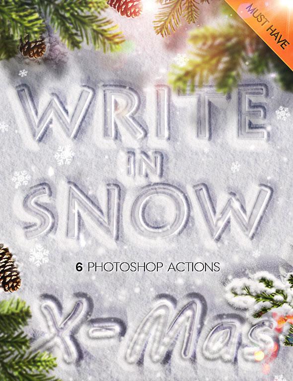 Nieve escribiendo promociones de Photoshop para el invierno