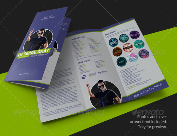 PromoDJ - DJ Press Kit Tri-Fold Brochure