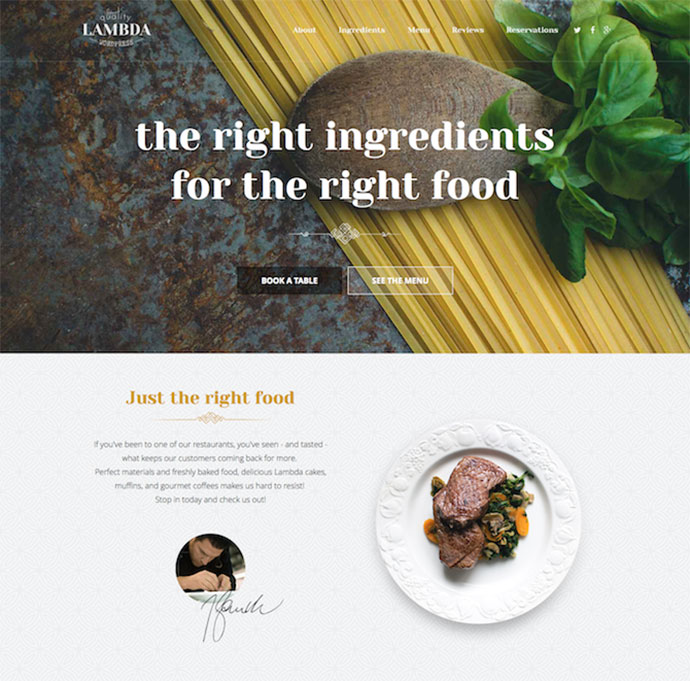 FREE One Page Restaurant HTML & CSS Template