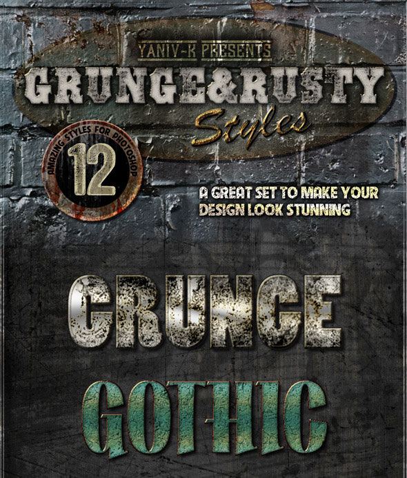 Grunge Rusty Photoshop Styles Vol.1