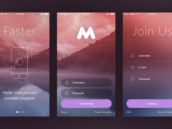 Modern sign up login form ui designs web graphic