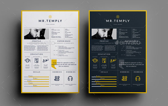 the visual resume template is an indesign brochure template for individuals working in creative fields that require adding images to their written cv - Graphic Design Resume Template
