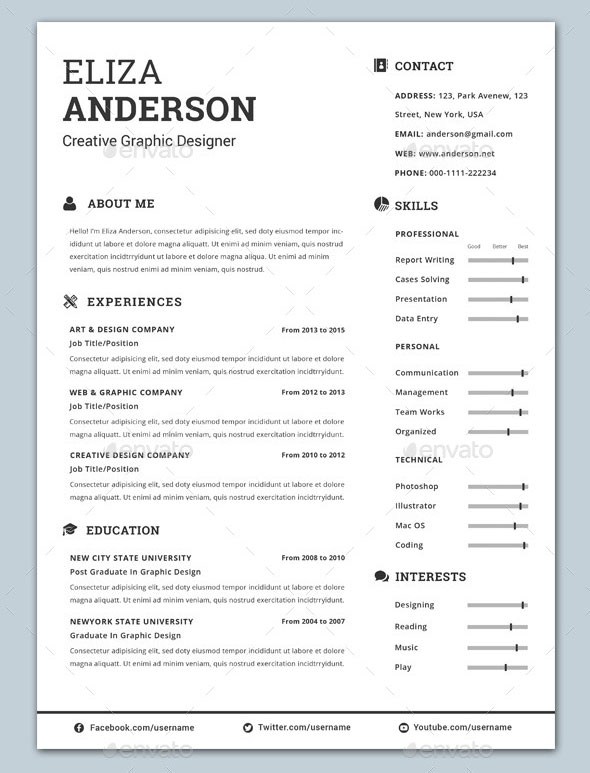 30 best resume template designs 2015