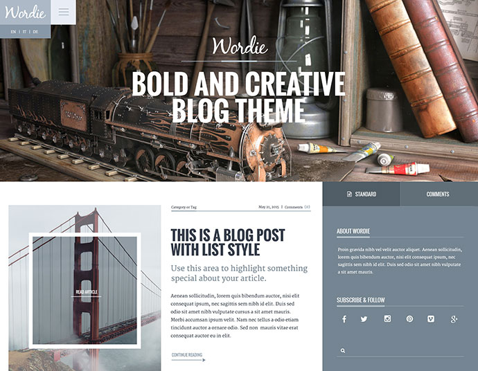 Wordie - Bold & Creative WordPress Blog Theme