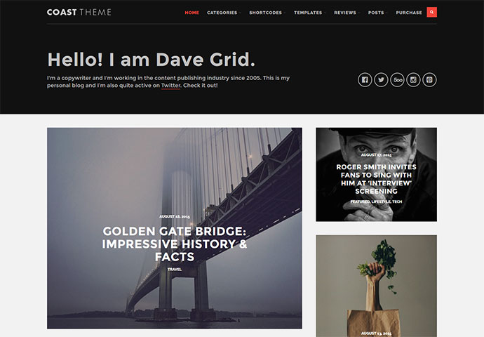 Coast - Flat and Minimalist Blogging Theme