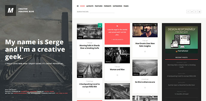 MaxiOne - Creative Personal Blog WordPress Theme
